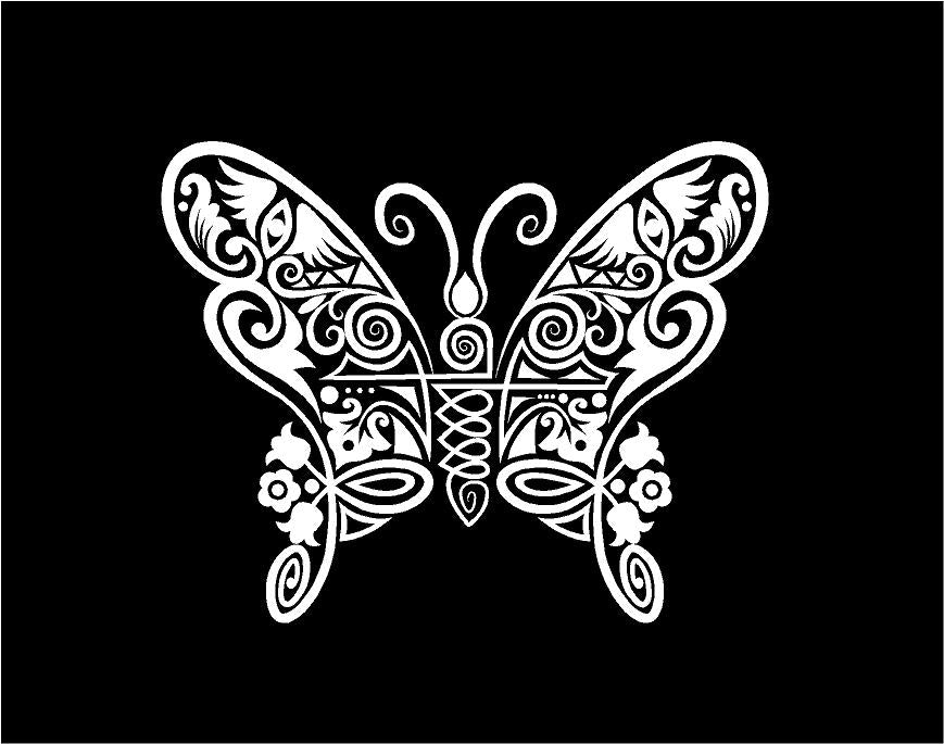 intricate butterfly decal car truck window sticker