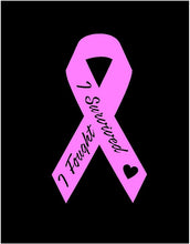 Load image into Gallery viewer, Breast cancer pink ribbon decal I fought I survived car truck bumper sticker