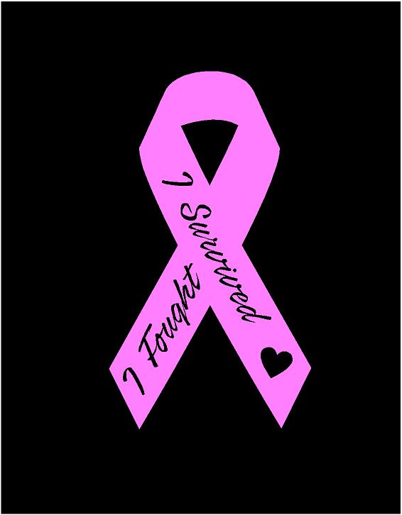 Breast cancer pink ribbon decal I fought I survived car truck bumper sticker