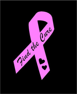 pink breast cancer decal find the cure ribbon car truck window bumper sticker