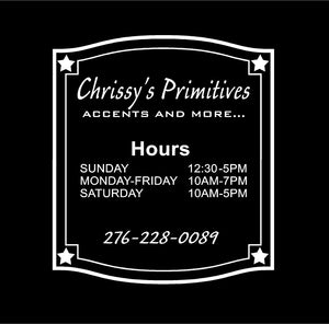 business hours window decal