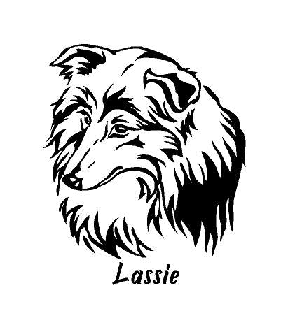 collie dog decal