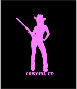 cowgirl up car window decal