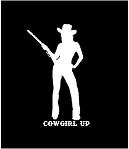 cowgirl up silhouette decal car truck window laptop sticker