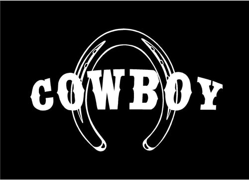 cowboy horseshoe decal custom vinyl car truck window western sticker