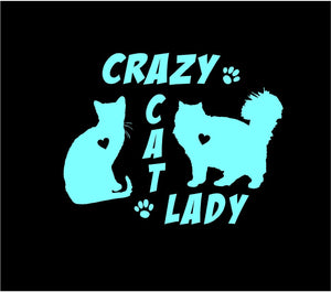 cat lady window decal