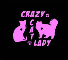 Load image into Gallery viewer, crazy cat lady car decal