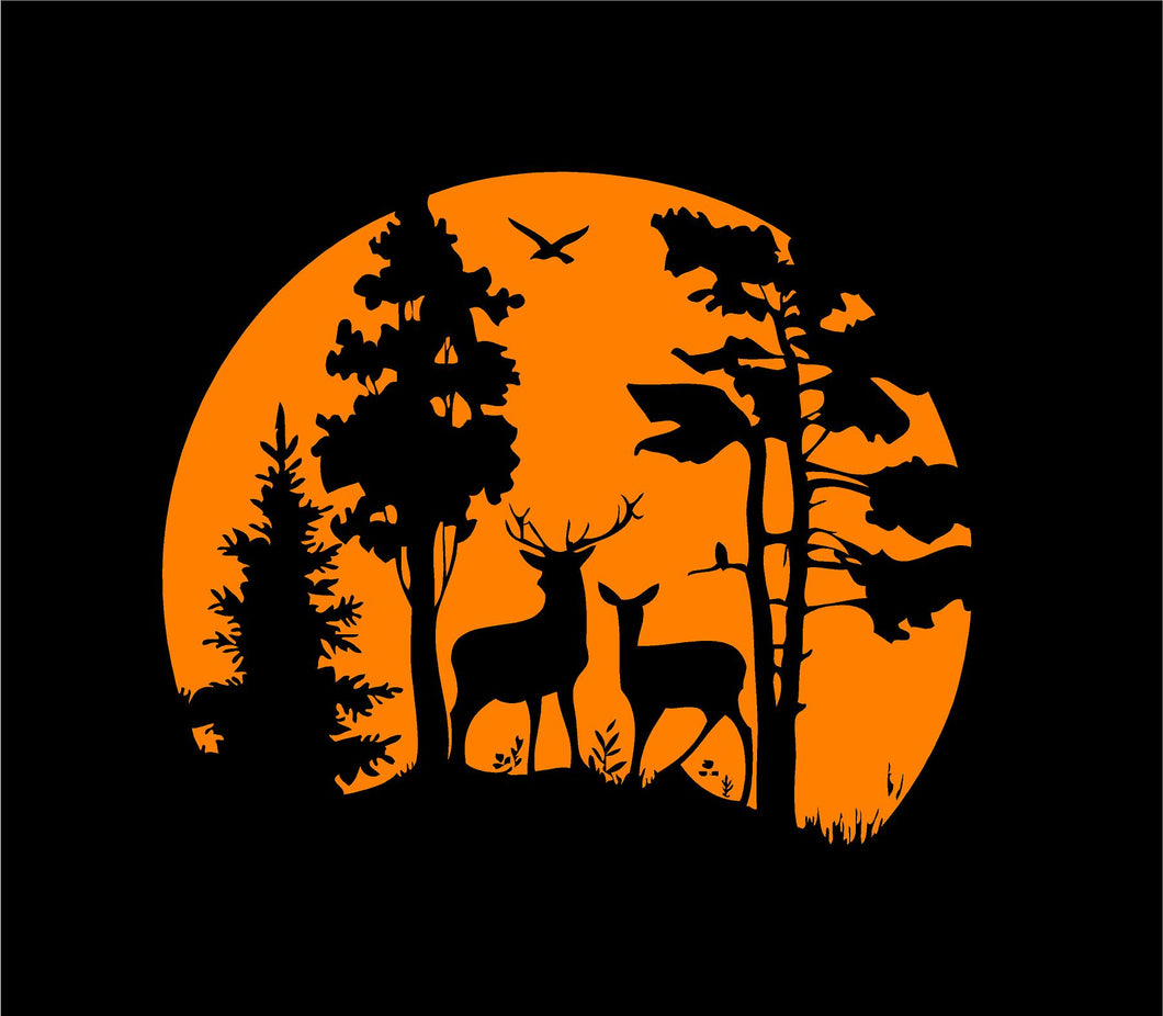 deer scene decal hunting wildlife car truck window sticker