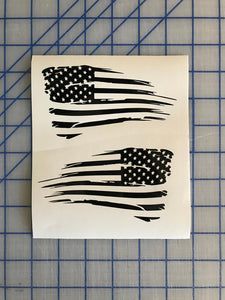 Distressed Tattered USA America Flag Decal Set of 2 Custom Vinyl Stickers