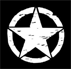 Distressed Star Circle decal Custom Vinyl Hood Roof Jeep Car Truck sticker