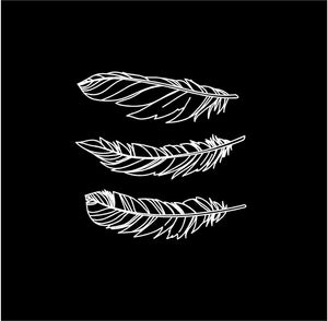 feathers decal boho car truck window feather stickers