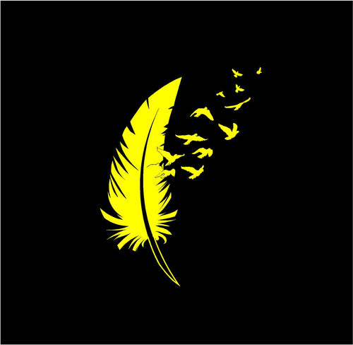birds flying from feather decal car truck window laptop sticker