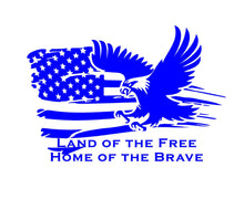 Load image into Gallery viewer, land of the free home of the brave flag eagle decal