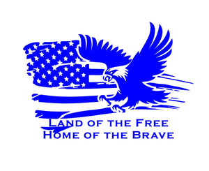land of the free home of the brave flag eagle decal