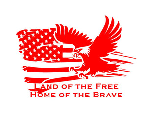 land of the free home of the brave flag sticker