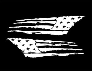 Distressed Tattered USA America Flag Decal Set of 2 Medium Custom Vinyl Stickers