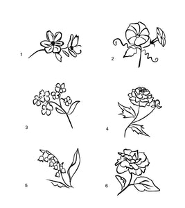 flower lineart decals laptop car truck window floral stickers