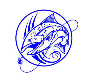 fly fishing decal car truck window fisherman trout sticker