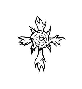 Gothic Rose Cross Decal Custom Vinyl car truck window laptop sticker