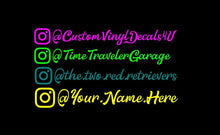 Load image into Gallery viewer, Instagram Fancy Name Decals Social Media IG tag set of 2 car truck window Stickers