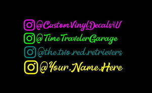 Instagram Fancy Name Decals Social Media IG tag set of 2 car truck window Stickers