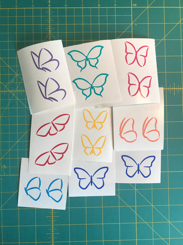 butterfly lineart decals craft project stickers set of 8