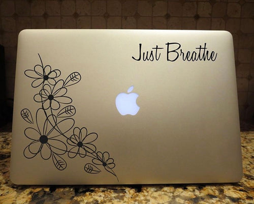 just breathe floral decal laptop car truck window sticker
