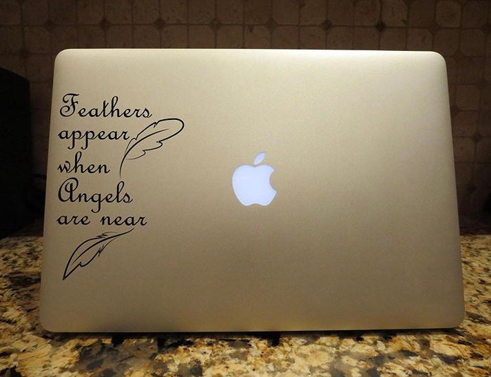 feathers appear when angels are near decal car truck window laptop sticker