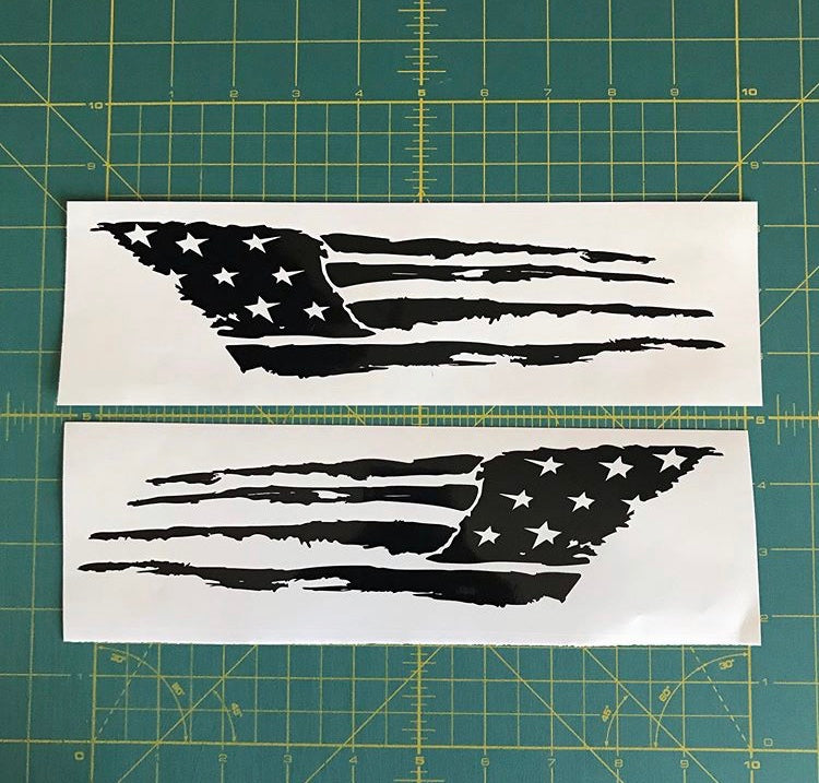 distressed tattered usa flag decals american car truck window stickers