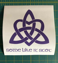 Load image into Gallery viewer, some like it scot celtic trinity heart knot decal car truck window sticker