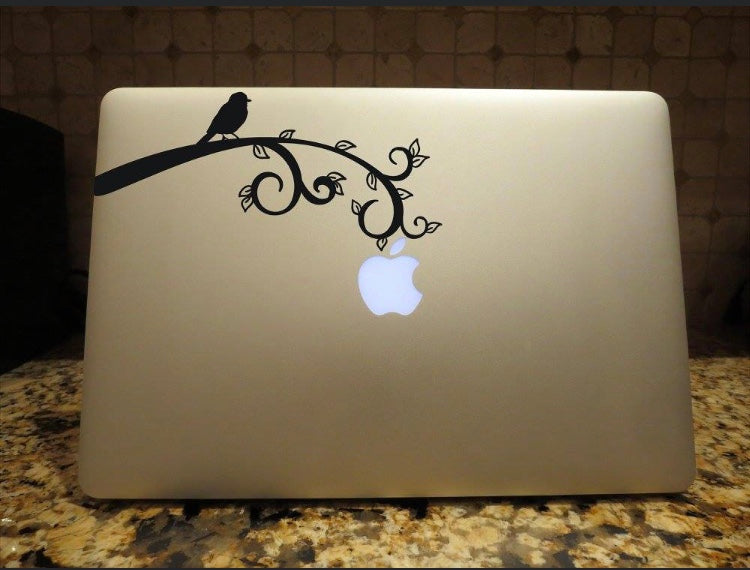 bird on a branch laptop decal sticker