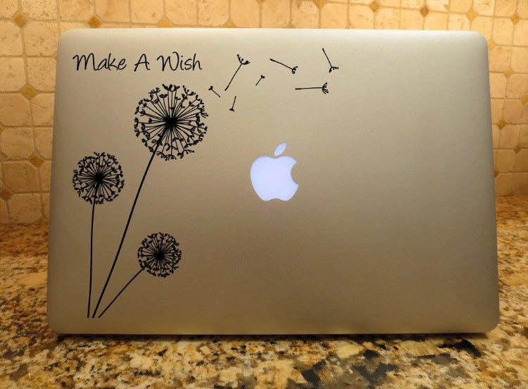 dandelion decal make a wish laptop car truck window sticker