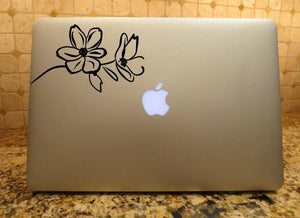 flower line art decal computer sticker