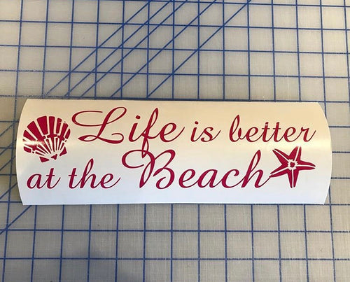 life is better at the beach decal car truck window wall quote sticker