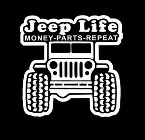 Jeep Life Money Parts Repeat decal car truck window sticker