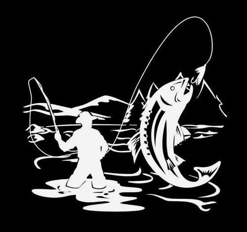 fly fishing fisherman trout car decal