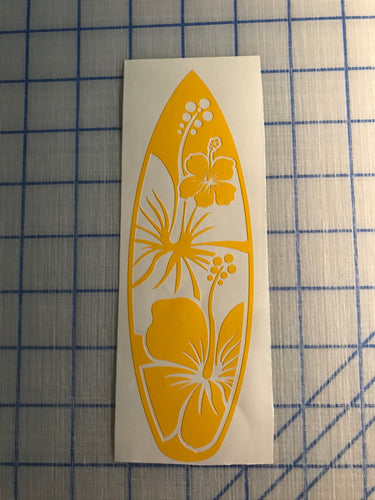 surfboard hibiscus decal car truck window sticker