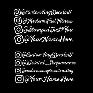 instagram name decal car truck window social media sticker