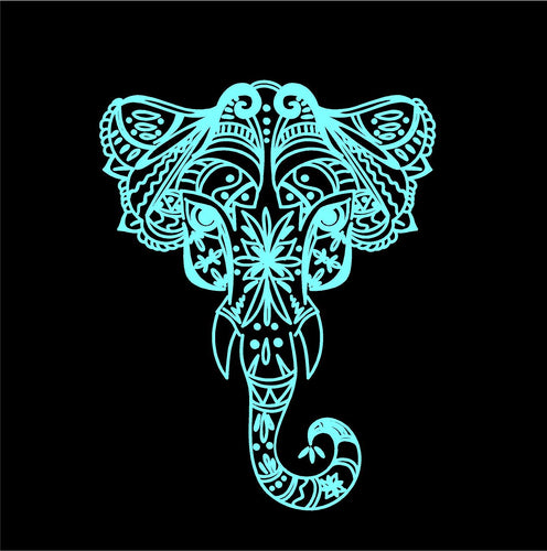 intricate elephant decal car truck window elephant sticker