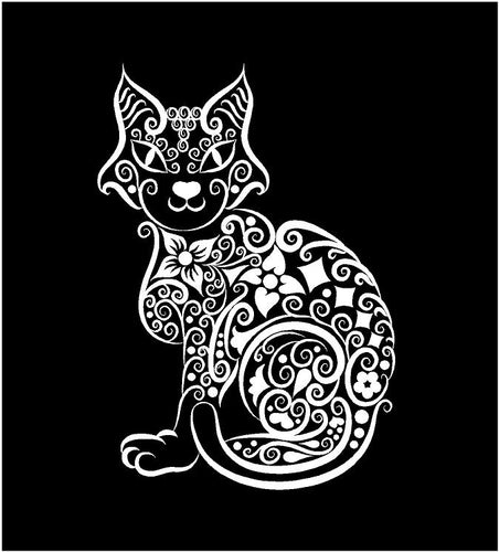 intricate cat decal car truck window cat lover sticker
