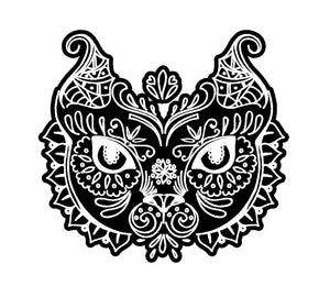 Fancy Cat Head Decal Custom Vinyl car truck window sticker Intricate