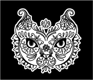 Fancy Intricate Cat head decal custom vinyl car truck window sticker