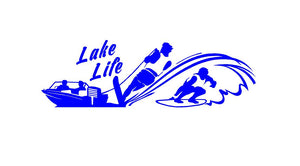 Lake Life Water Skier Wake Surfer Boating Decal Custom Vinyl Car Truck Window Sticker