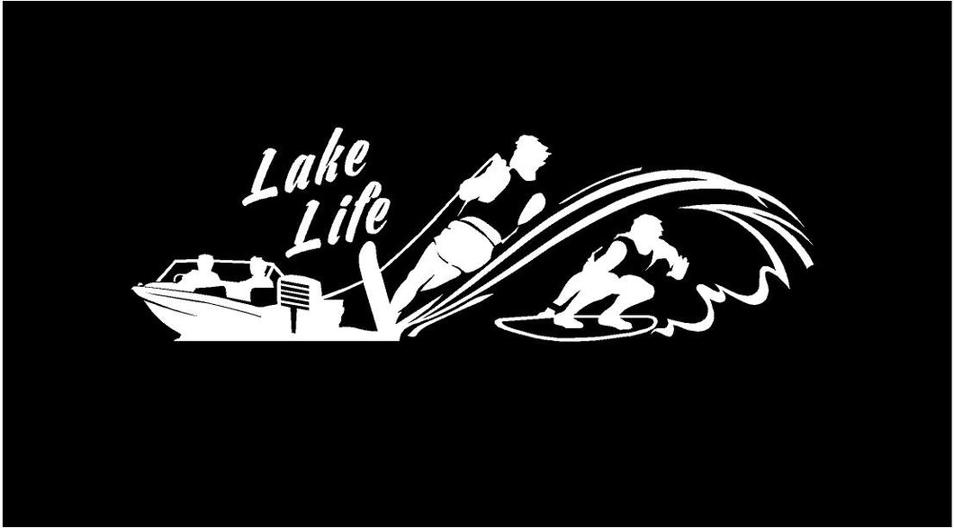 lake life water skiing wake boarding decal car truck window sticker