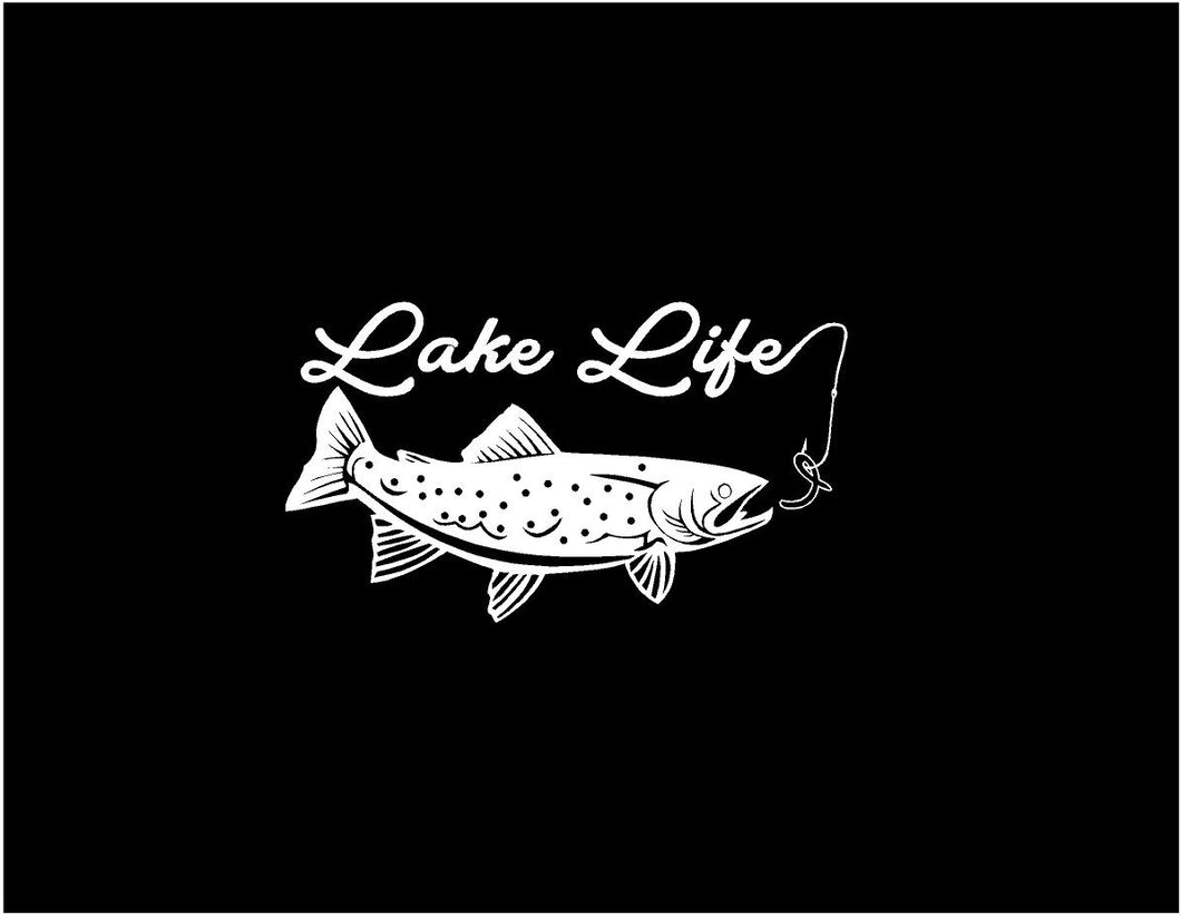 lake life trout decal car truck window fishing decal