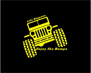 Jeep Life Happens Enjoy the Bumps Decal Off Roading custom vinyl car truck window sticker