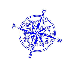 Life is an Adventure Compass Decal Go Out and Explore Custom Vinyl Sticker