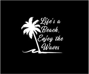 lifes a beach enjoy the waves decal car truck window sticker