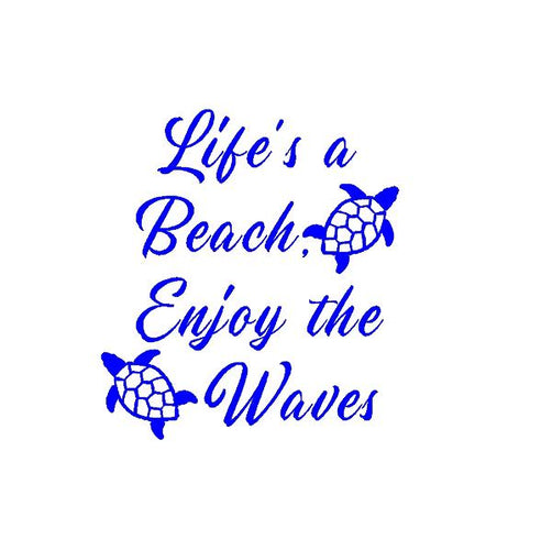 lifes a beach enjoy the waves decal car truck window beach sticker