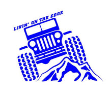 Load image into Gallery viewer, Jeep Life Livin on the Edge Decal Off Roading custom vinyl car truck window sticker